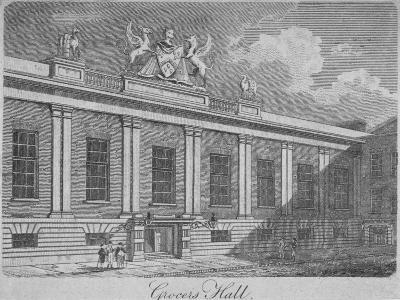Front View of Grocers' Hall, City of London, 1812--Giclee Print