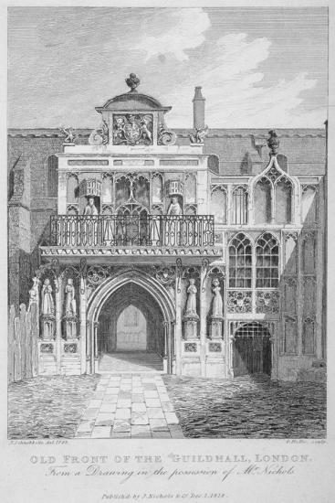 Front View of the Guildhall, Looking North, City of London, 1818-George Hollis-Giclee Print