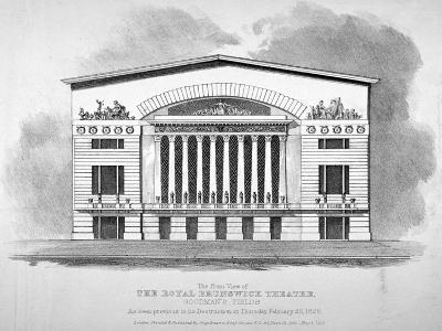 Front View of the Royal Brunswick Theatre, Goodman's Fields, Stepney, London, 1828--Giclee Print