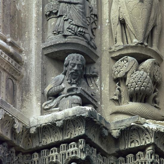 Front west detail of Chartres Cathedral, 12th century-Unknown-Photographic Print