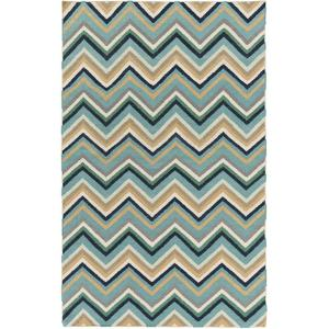 Frontier Chevron Area Rug - Teal/Gold 5' x 8'