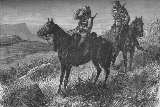 'Frontier Light Horse, on Vedette Duty, Discovering Zulus near Wood's Camp, on Kambula Hill', c1880-Unknown-Giclee Print