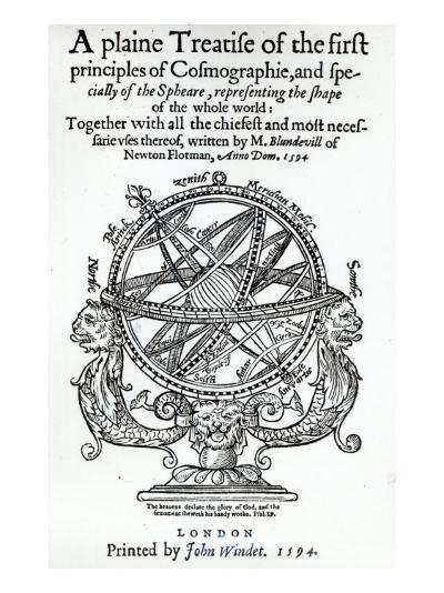 Frontispiece from 'A Plain Treatise of First Principles of Cosmographie' by Thomas Blundeville--Giclee Print