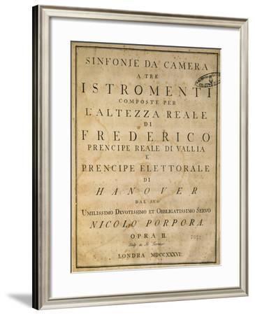 Frontispiece of Chamber Symphonies, 1736-Nicola Antonio Porpora-Framed Giclee Print