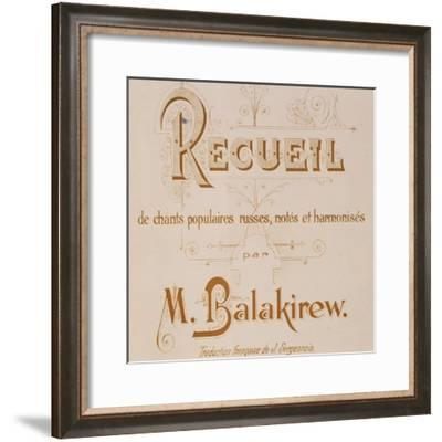 Frontispiece of Collection of Russian Folk Songs by Mily Balakirev--Framed Giclee Print
