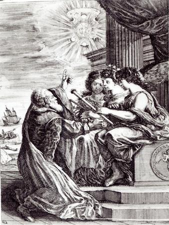 Frontispiece of Opere Di Galileo Galilei, Published in Bologna in 1656--Giclee Print