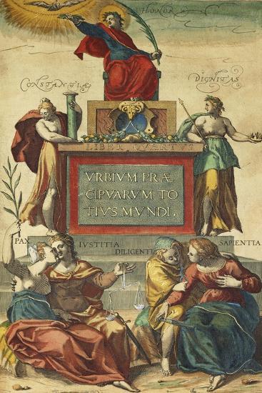 Frontispiece of Volume IV Depicting Allegorical Figures from Civitates Orbis Terrarum--Giclee Print