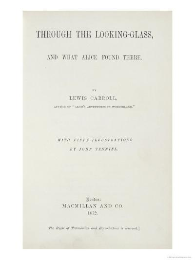 Frontispiece to Alice Through the Looking-Glass by Lewis Carroll--Giclee Print