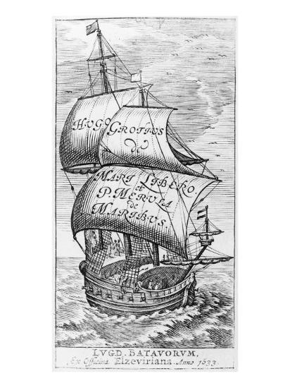 Frontispiece to 'De mari libero', by Hugo Grotius and Paulus van Merula 'de Maribus', 1633--Giclee Print