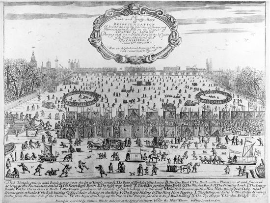 Frost Fair of Winter of 1683-4 on Thames, with Old London Bridge in Distance. C.1684--Giclee Print