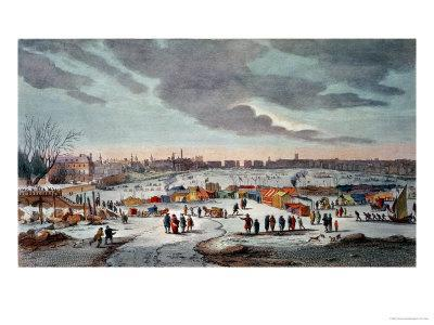 Frost Fair On The River Thames Near The Temple Stairs In 4040 Extraordinary Fairon Decorative Throw Pillow