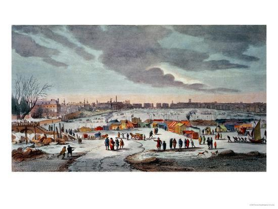 Frost Fair On The River Thames Near The Temple Stairs In 4040 Awesome Fairon Decorative Throw Pillow