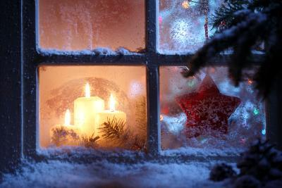 Frosted Window with Christmas Decoration-Sofiaworld-Photographic Print