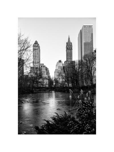 """Frozen Lake """"The Pond"""" in Central Park with 5th Avenue Buildings-Philippe Hugonnard-Photographic Print"""