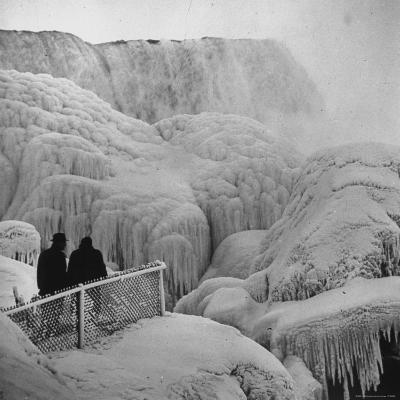 Frozen Niagara Falls, Trees, Park Grounds and Rocks Covered with Ice and Mist-Andreas Feininger-Photographic Print