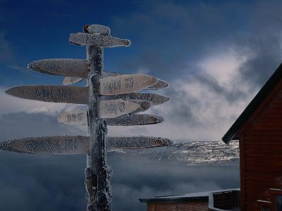 Frozen Signpost, Narvik, Nordland, Norway-Christian Aslund-Photographic Print