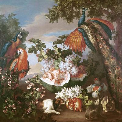 Fruit and Exotic Birds in a Landscape-Jean-Baptiste Monnoyer-Giclee Print
