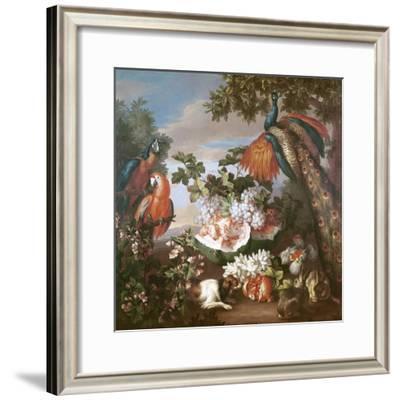 Fruit and Exotic Birds in a Landscape-Jean-Baptiste Monnoyer-Framed Giclee Print