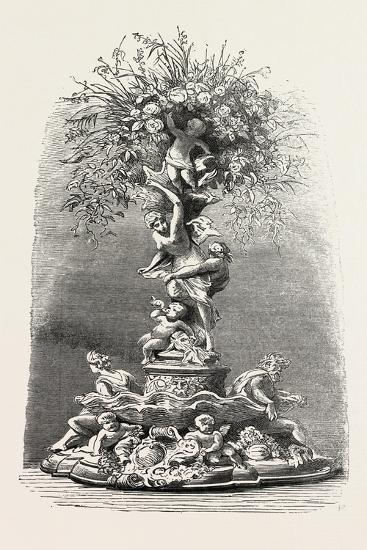 Fruit and Flower Stand in Silver, Table Decoration, 1882--Giclee Print