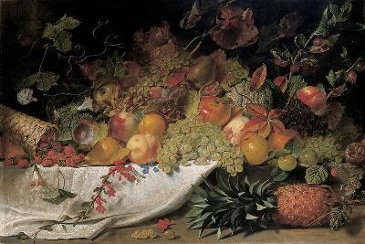 Fruit and Flowers on a Stone Ledge, 1829-George Lance-Giclee Print