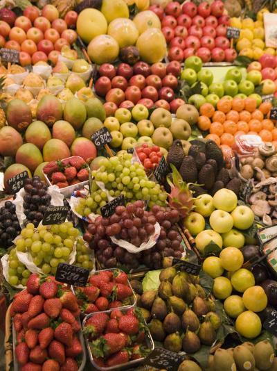 Fruit and Vegetable Display, La Boqueria, Market, Barcelona, Catalonia, Spain, Europe-Martin Child-Photographic Print