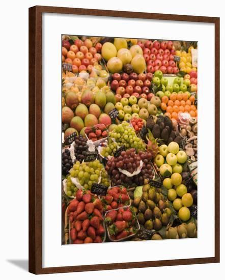 Fruit and Vegetable Display, La Boqueria, Market, Barcelona, Catalonia, Spain, Europe-Martin Child-Framed Photographic Print