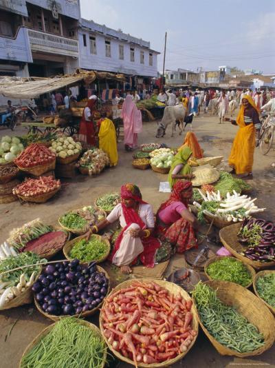 Fruit and Vegetable Sellers in the Street, Dhariyawad, Rajasthan State, India-Robert Harding-Photographic Print