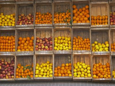 Fruit and Vegetable Shop in Wooden Crates, Montevideo, Uruguay-Per Karlsson-Photographic Print