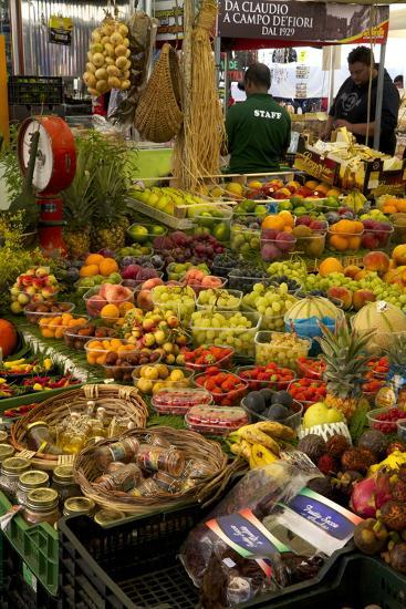 Fruit and Vegetable Stall at Campo De Fiori Market, Rome, Lazio, Italy, Europe-Peter Barritt-Photographic Print