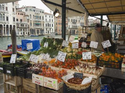 Fruit and Vegetable Stall at Canal Side Market, Venice, Veneto, Italy-Christian Kober-Photographic Print