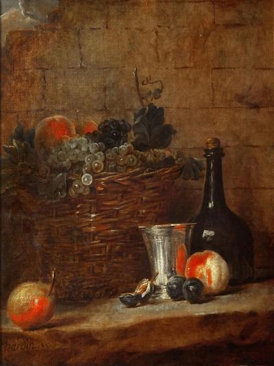 Fruit Basket with Grapes, a Silver Goblet and a Bottle, Peaches, Plums, and a Pear-Jean-Baptiste Simeon Chardin-Giclee Print