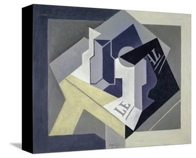 Fruit Bowl and Newspaper, 1920-Juan Gris-Stretched Canvas Print