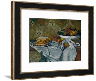 Fruit Bowl and Plate with Biscuits, circa 1877-Paul C?zanne-Framed Giclee Print