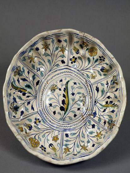 Fruit Bowl with Floral Decorations, 1613, Ceramic, Veneto, Italy--Giclee Print