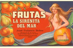 Fruit Crate Label, Mermaid
