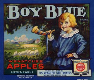 Fruit Crate Labels: Boy Blue Brand Wenatchee Apples; East Wenatchee Fruit Growers