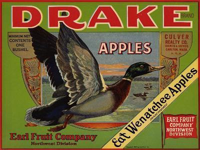 Fruit Crate Labels: Drake Brand Apples; Earl Fruit Company--Art Print