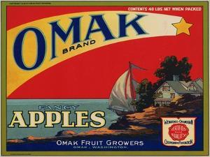 Fruit Crate Labels: Omak Brand Fancy Apples; Omak Fruit Growers