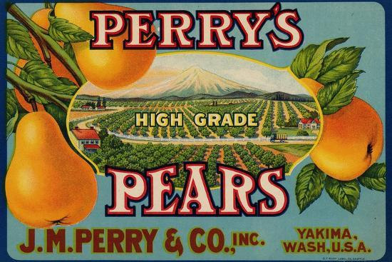 Fruit Crate Labels: Perry's High Grade Pears; J.M. Perry and Company, Inc.--Art Print
