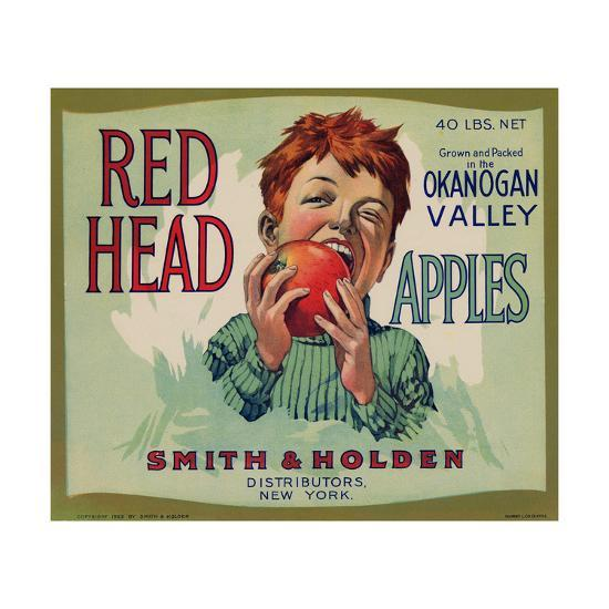 Fruit Crate Labels: Red Head Apples; Distributed by Smith and Holden, New York--Premium Giclee Print