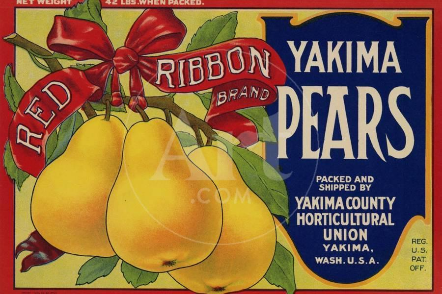 Fruit Crate Labels: Red Ribbon Brand Yakima Pears; Yakima County ...