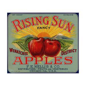 Fruit Crate Labels: Rising Sun Fancy Apples; F.E. Nellis and Company