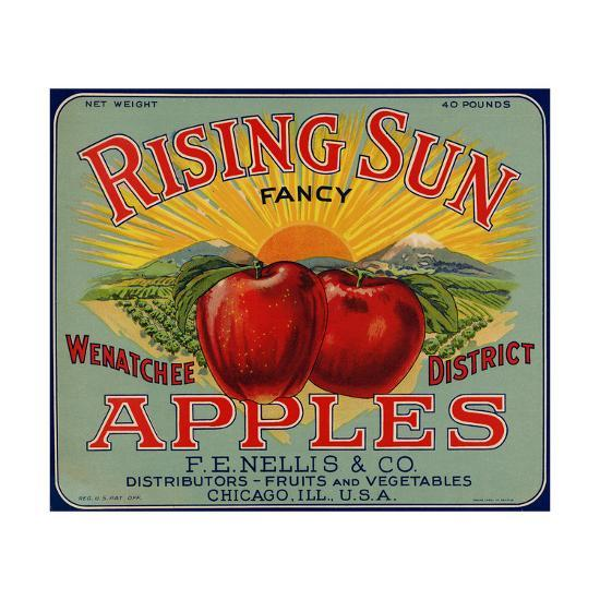 Fruit Crate Labels: Rising Sun Fancy Apples; F.E. Nellis and Company--Art Print