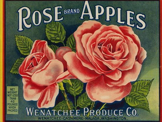 Fruit Crate Labels: Rose Brand Apples; Wenatchee Produce Company--Art Print