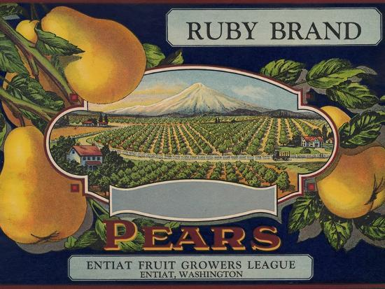 Fruit Crate Labels: Ruby Brand Pears; Entiat Fruit Growers League--Art Print