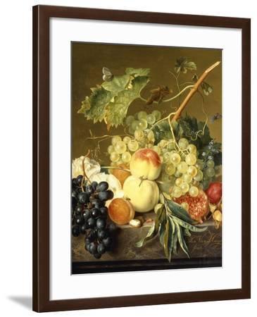 Fruit, Hazelnuts and Hollyhocks on a Marble Ledge-Jan van Huysum-Framed Giclee Print