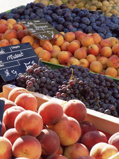Fruit, Peaches and Grapes, for Sale on Market in the Rue Ste. Claire, Rhone-Alpes, France-Ruth Tomlinson-Photographic Print