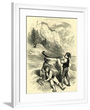Fruit Seller and Horn Blower Switzerland--Framed Giclee Print