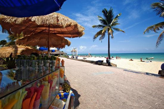 Fruit Stands on Playa Del Carmen, Mexico-George Oze-Photographic Print