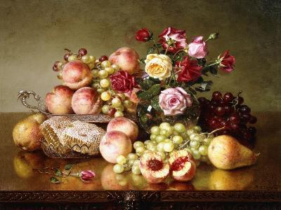 Fruit Still-Life with Roses and Honeycomb, 1904-Robert Spear Dunning-Giclee Print